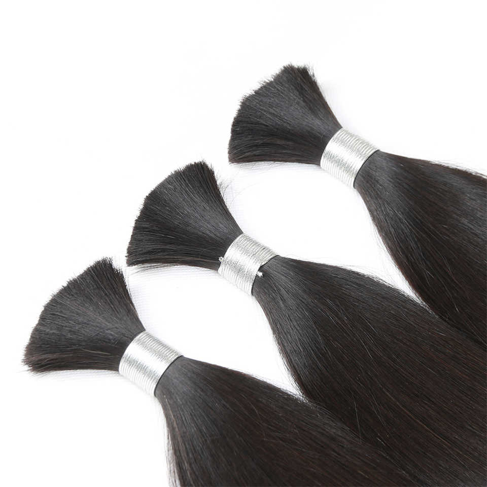Pelo indio de Color Natural de Rebeca paquetes de pelo humano a granel para trenzar trenzas rectas Remy pelo 3 paquetes envío gratis