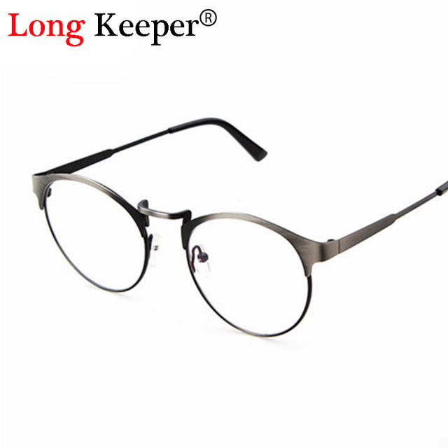 Long Keeper Semi Rimless Woman Glasses Men Women Optical Frames Round Rim Clear  lens Eyeware Metal Mens Unisex Gafas de grau c2043f7f2b