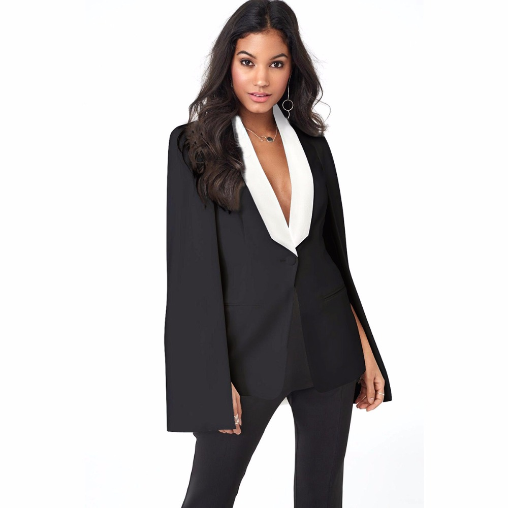 OMILKA Blazer Feminino 2018 Summer Women Cape Blazer Fashion Long Sleeve Black White Office Split Pockets Cape Blazer Workwear
