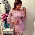 Sexy Off the Shoulder Lace Cocktail Dresses 2017 Fashion Women Three Quarter Sleeve Pink 2016 Cheap Sheath Party Dress
