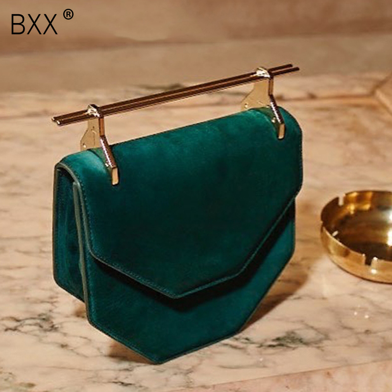 [BXX] 2020 Summer Woman Temperament New Red Single Chain Polygonal Spliced Metal Rod Velvet Shoulder Bag All Match Handbag LM113