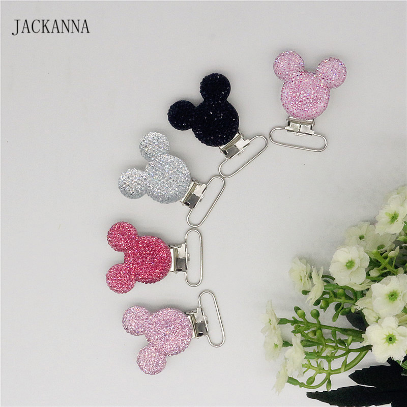 5PCS Funny Baby Pacifier Clips Safe Cartoon Mouse Shape Metal Suspender Clips Toddler Pacifier Clip Holders For Bebes