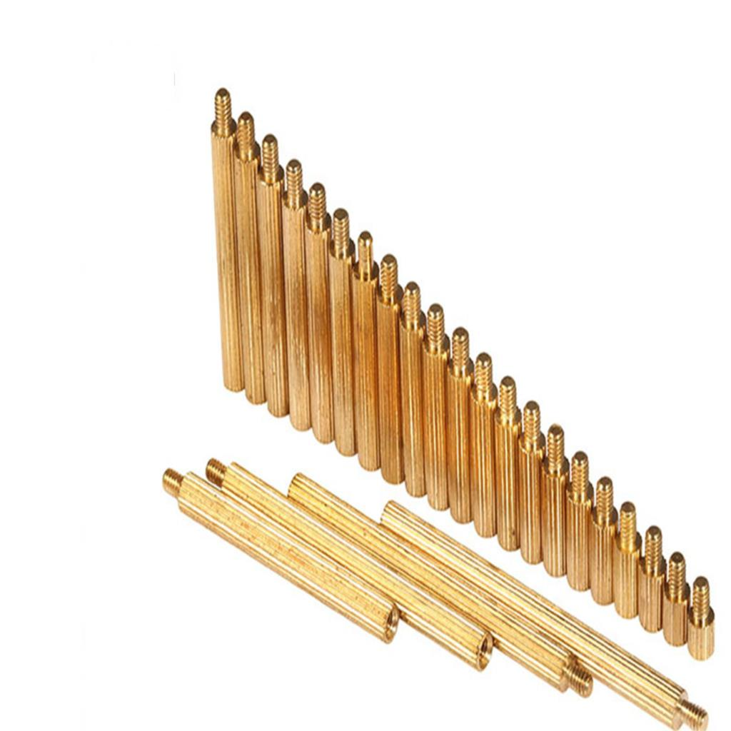 50pcs M2 M2xL+3mm Brass Pillar Single head circular cylinders Copper <font><b>screws</b></font> Single pass copper column circular monitor image