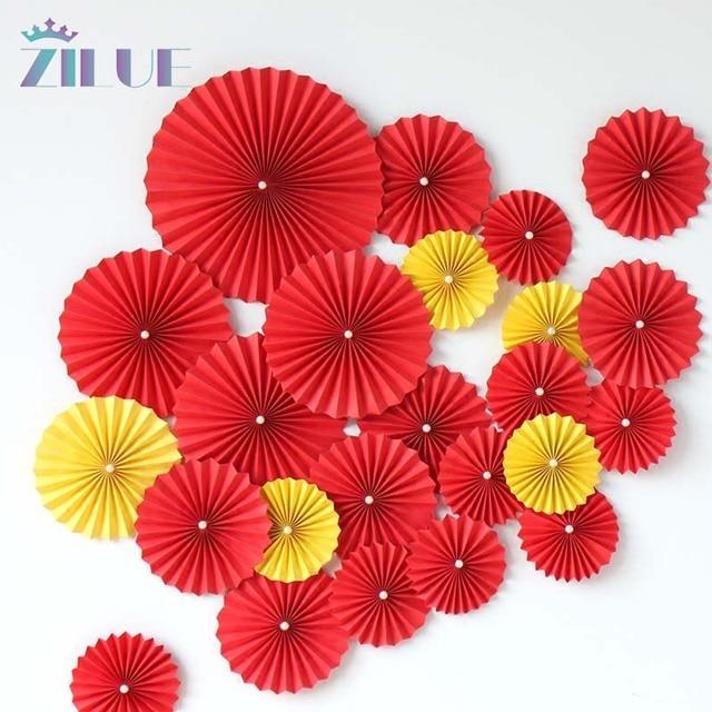 Zilue 10pcslot Paper Flowers Fan Craft Party Decoration Hanging