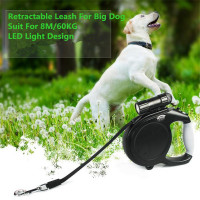 Durable Large Big Dog Leash Retractable Pet Leads LED Light Extending Automatic 8M 60KG Hauling Cable For German Shepherd Dog