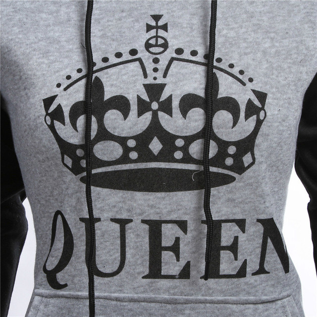 King Queen Printed Hoodies Lovers Couples Women Men Sweatshirt Hooded Sweatshirt Casual Pullovers Tracksuits Harajuku Pockets