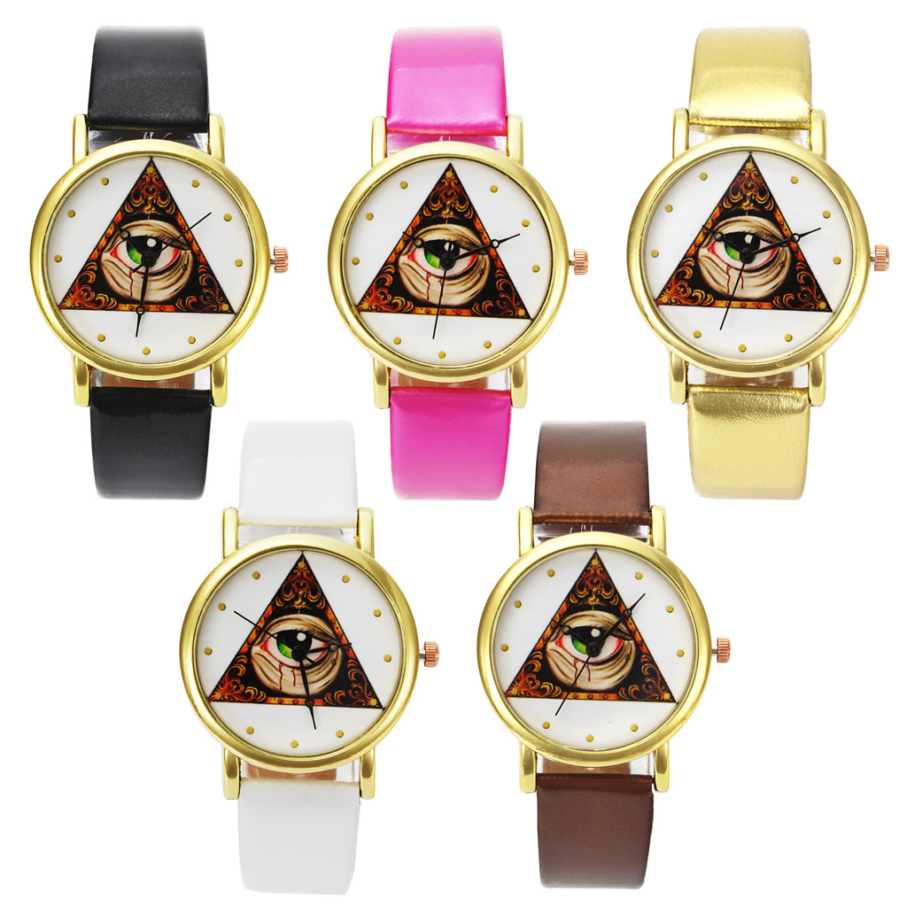 Eye Of God Angel Eyes Pictures Christian Jesus Religious Easter Bible Unisex Gold Color Case Leather Wrist Watch
