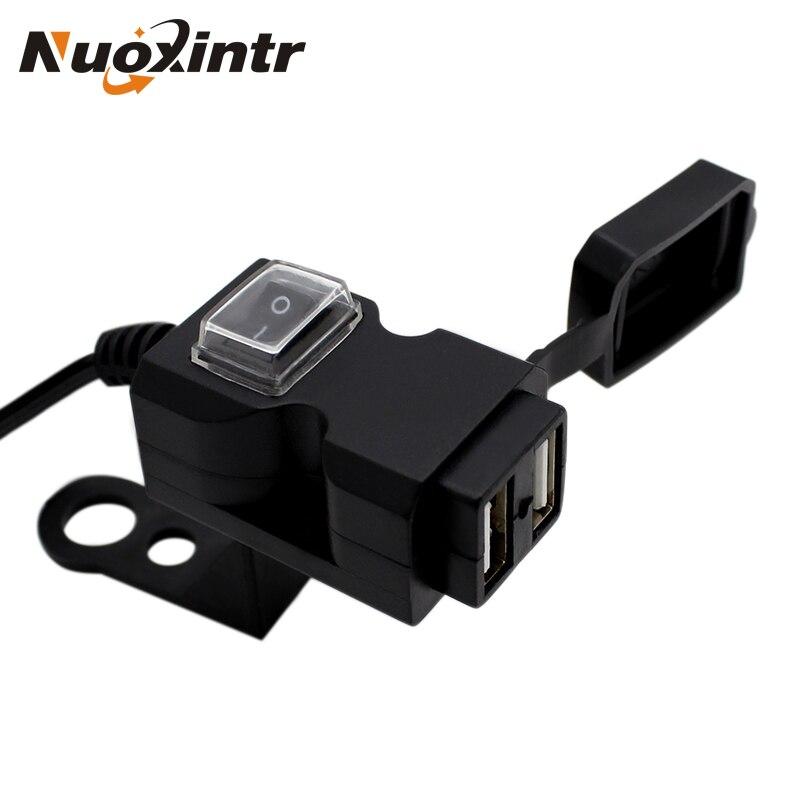 Nuoxintr 12 V Dual USB Port Wasserdichte Motorrad Motorrad Lenker Ladegerät Adapter Netzteil Buchse für Handy