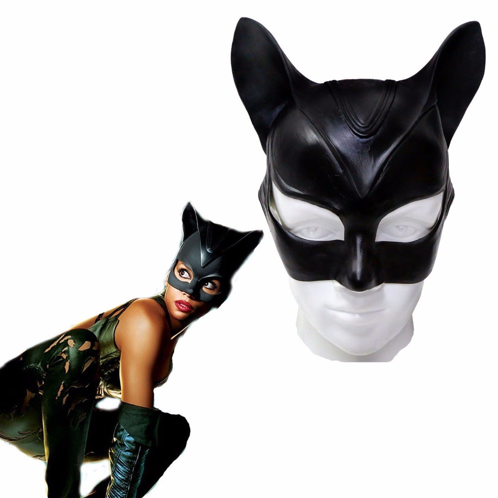Black Catwoman Mask Batman Halloween Cosplay Costume Prop Half Face Ear Mask Adult Superhero Soft Latex  Drop Ship
