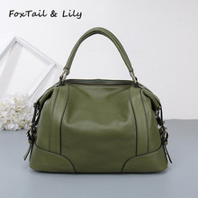 FoxTail & Lily Women Real Leather Bag Fashion Designer Handbags High Quality Genuine Leather Ladies Tote Shoulder Messenger Bags