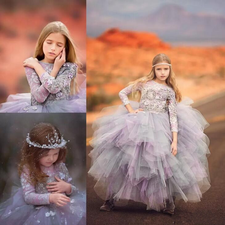 New Lavender Little Princess Pageant Dress Tulle Long Sleeves Lace Flower Girls Dresses Sequins Appliques First Communion Dress 2017 new flower girls dresses for weddings jewel lace appliques princess girls pageant dress first communion dress