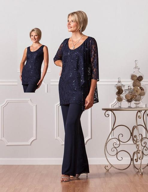 Navy Blue Lace Women Chiffon Pants Suit Wedding Formal Mother Of The Bride Pant Suits Designer