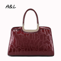 New Fashion Printed Patent Leather Handbag Women Bag Luxury Brand Tote Lady Casual Business Shoulder Messenger