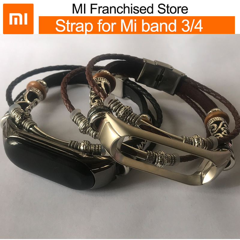 xiaomi band 4 Braided strap leather bracelet for MI band 3 band4 NFC version Wristband Retro Genuine replacement for men women image