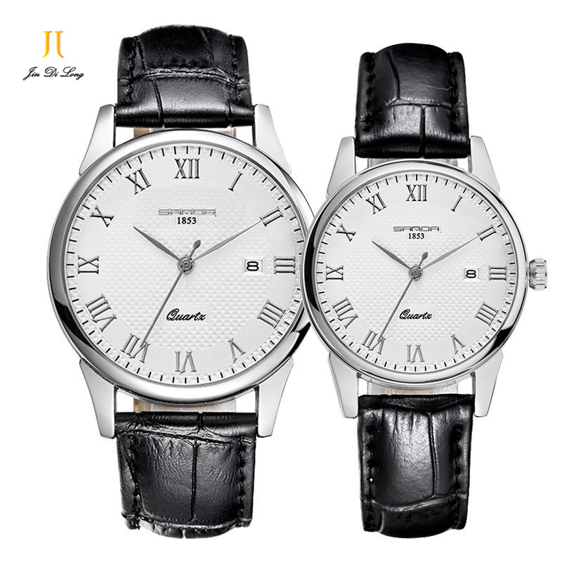 ?1 Pair Classic Fashion Lovers' Watch Men&Women's Quarts Analog Wrist Watches Rome Numeral Leather Strap Gift for Wedding 247 classic leather