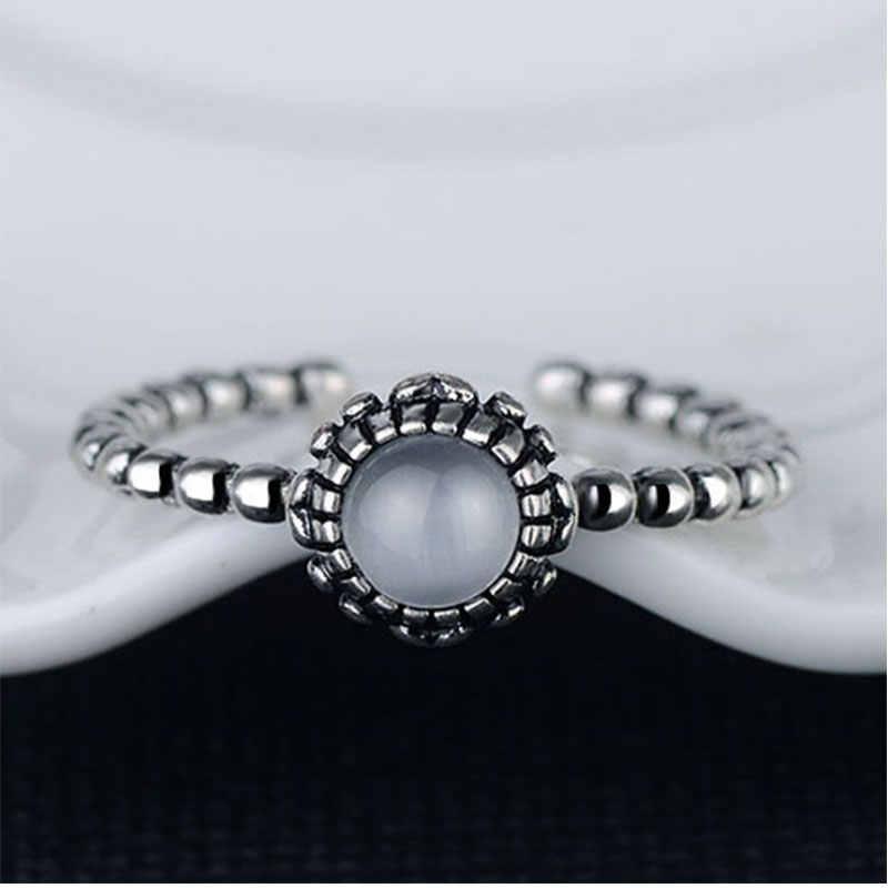 Anenjery VINTAGE แฟชั่น 925 เงินสเตอร์ลิงสิบสองเดือนวันเกิดหินเงินไทยแหวน anilons S-R101