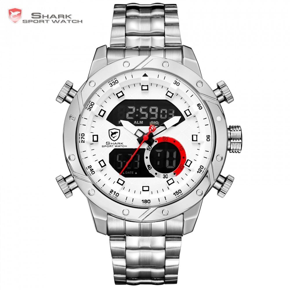 Snaggletooth акула спортивные часы ЖК дисплей Авто Дата Сигнализация Сталь  Группа Хронограф Dual Time Для мужчин Relogio Кварц цифровой наручные часы SH589  ... 9251ca92b8288