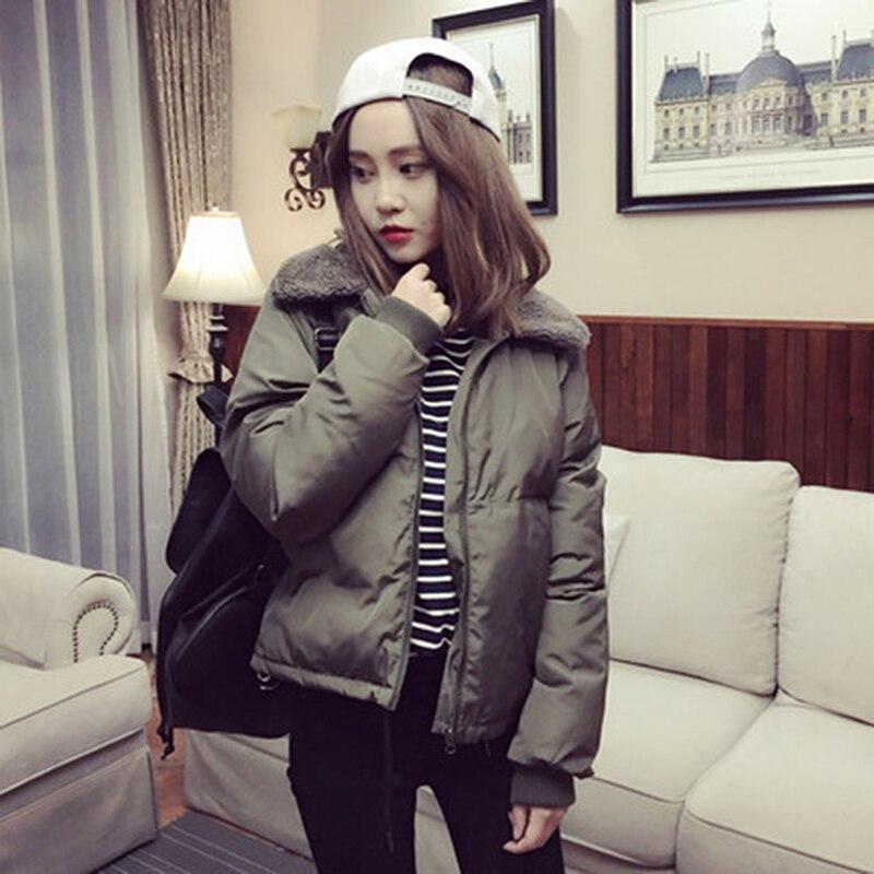 Bigsweety Women Winter Warm Outerwear Coat Lambs Collar Down Cotton-Padded Jackets Short Female   Parkas   winter jacket women