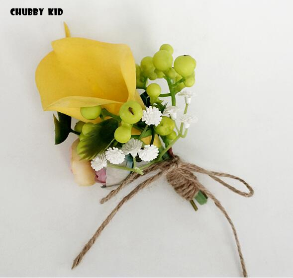 6d7d436c9a 10pcs/lot ! wholesale high simulation artificial yellow Calla Lily groom  groomsmen corsages Wedding Flower Brooch Boutonnieres-in Artificial & Dried  ...