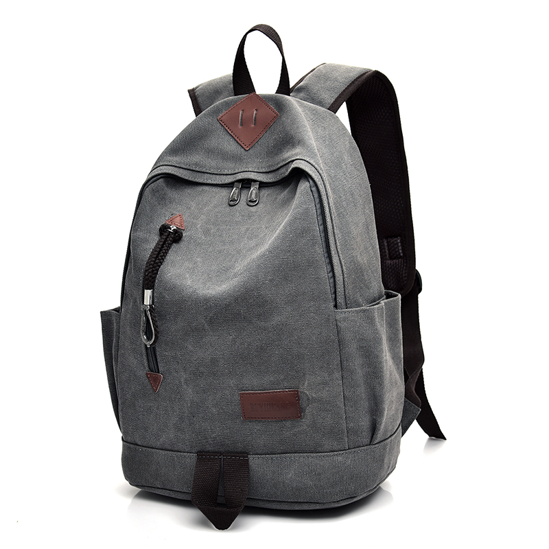 Dida Bear New Unisex Men Canvas Backpacks Large School Bags For Teenagers Boys Girls Travel Laptop Backbag Mochila Rucksack Grey