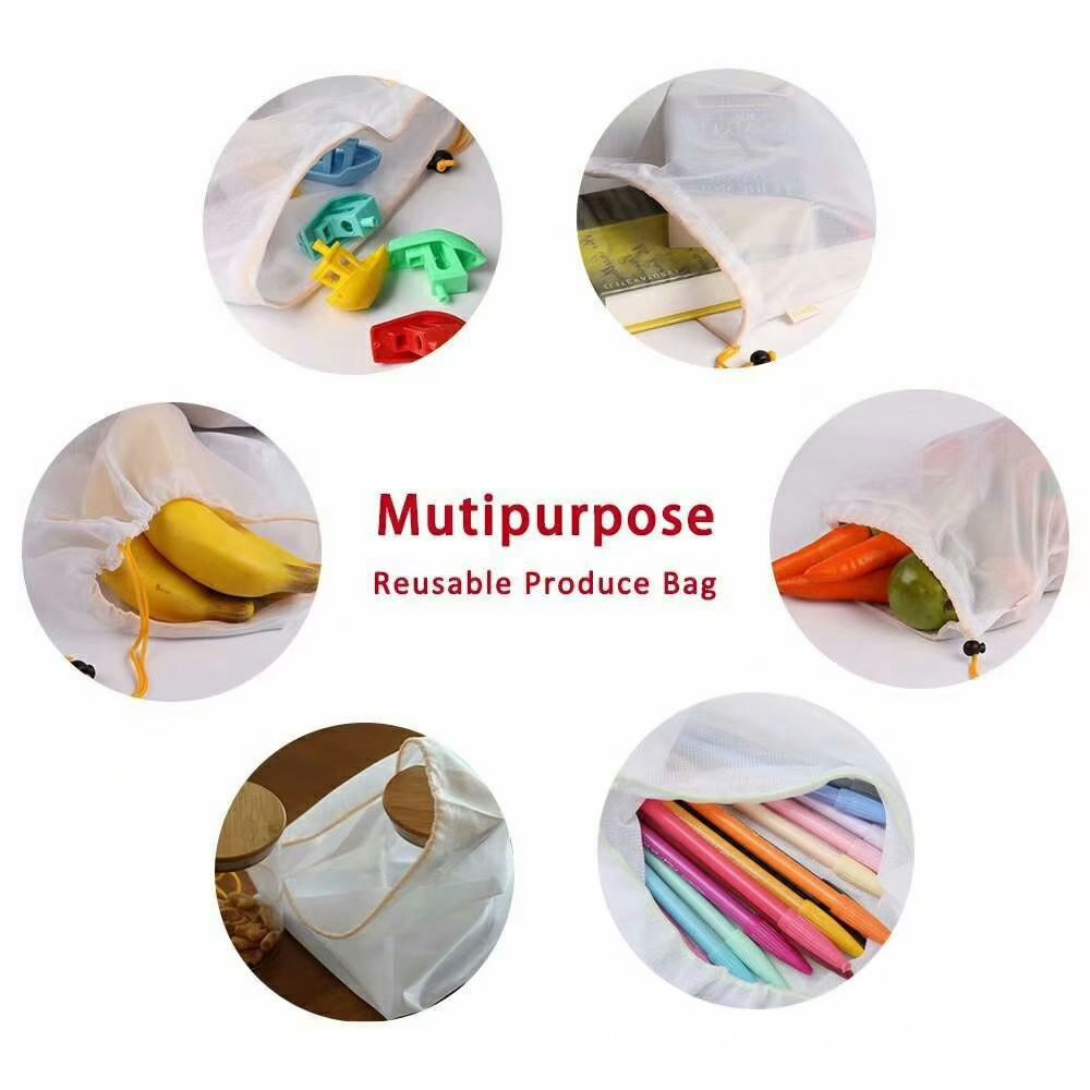 Image 3 - 1PC Eco Friendly Reusable Mesh Produce Bags Transparent Washable Grocery Mesh Bags for Storage Fruit Vegetable Toys Sundries-in Bags & Baskets from Home & Garden