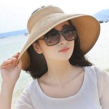 042ea2224 Primavera Verano sombrero de paja visera tapa plegable gran sombrero sol  sombrero playa sombreros para las mujeres sombrero de p.