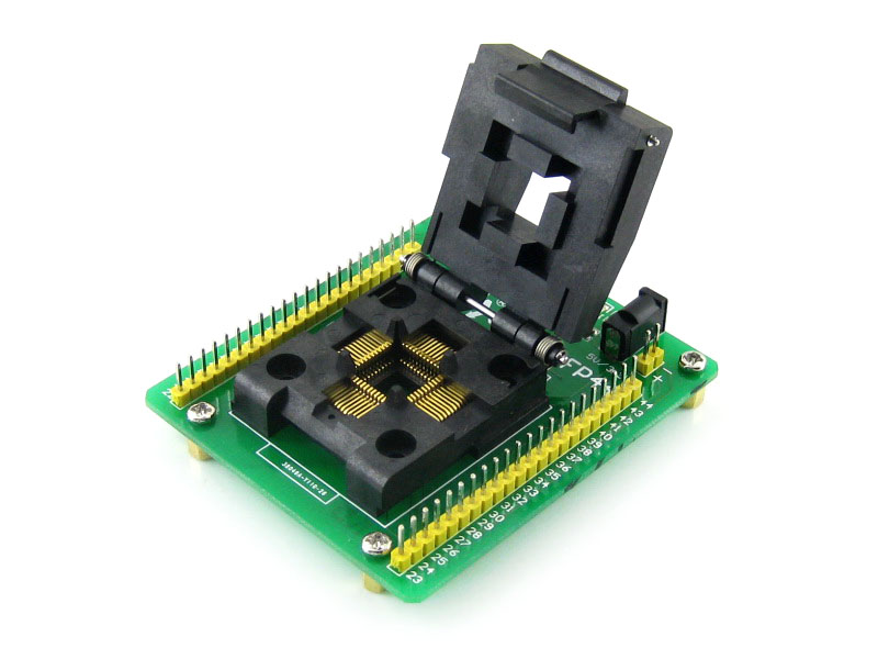 module STM8 QFP44 STM8 Programming Adapter IC Test Socket for LQFP44 Package 0.8mm Pitch with SWIM Port = STM8-QFP44 sop8 to dip8 programming adapter socket module black green 150mil