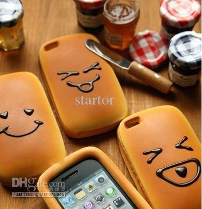 New Kawaii Face Bread Soft Case for iPhone 4, Scented Simulation Food Squishy Bread Phone Cases ...