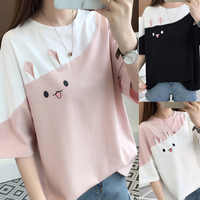 grunge aesthetic ulzzang friends harajuku rabbit tee kawaii 2019 t shirts t-shirt women female tshirt plus size tops korean