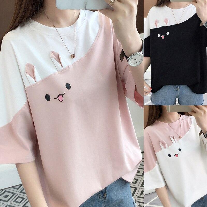 grunge aesthetic ulzzang friends harajuku rabbit tee kawaii 2019   t     shirts     t  -  shirt   women female tshirt plus size tops korean