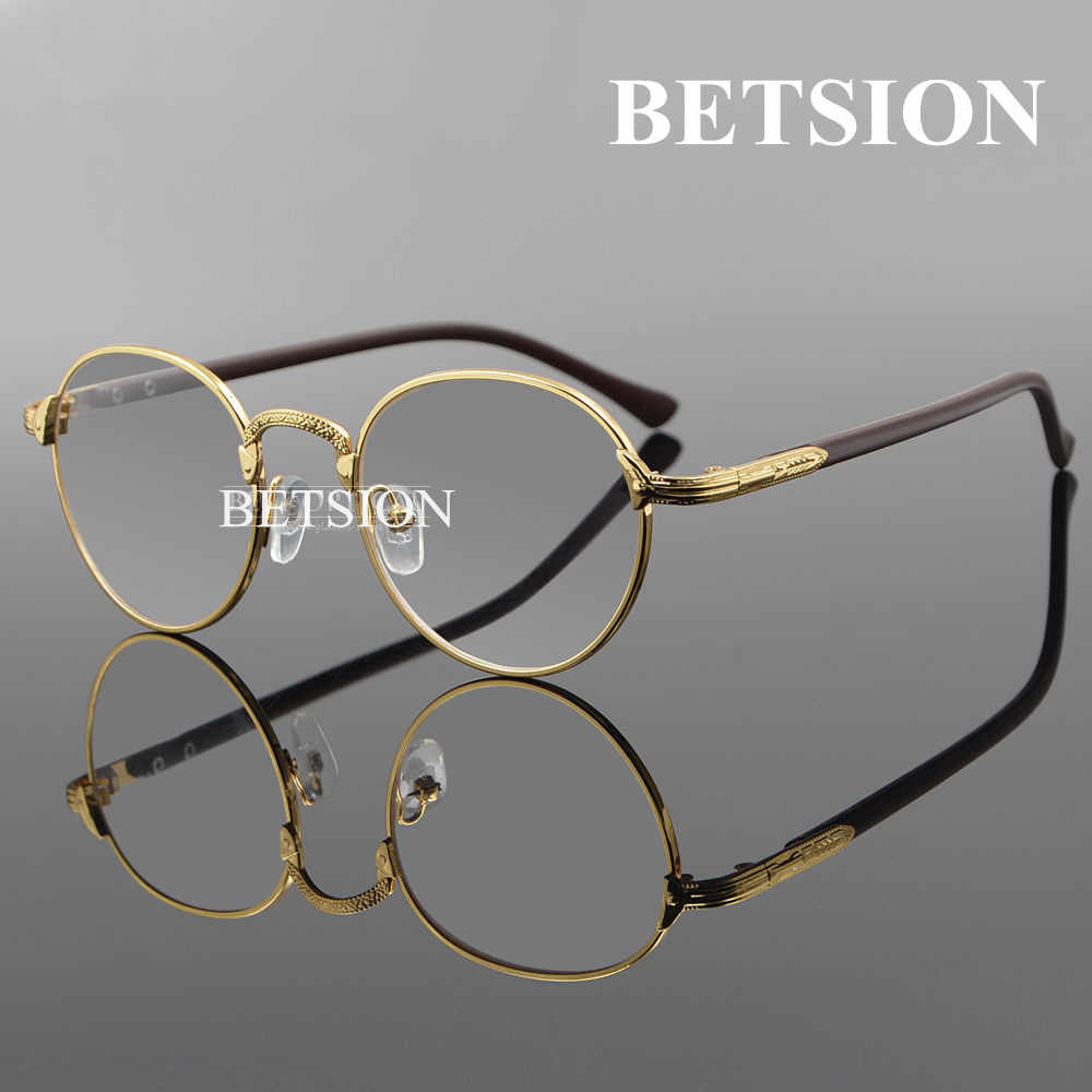 cc4fa251de0 BETSION Vintage Oval Gold Eyeglass Frame Man Women Plain Glasses Clear Full-Rim  Spectacles
