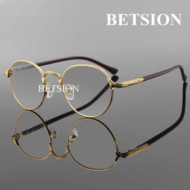 b009122c04 BETSION Vintage Oval Gold Eyeglass Frame Man Women Plain Glasses Clear  Full-Rim Spectacles