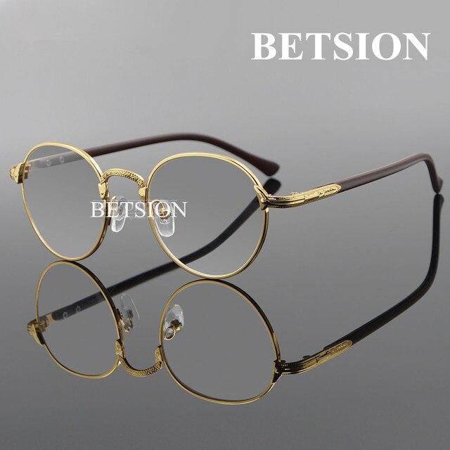 BETSION Vintage Oval Mujeres Vasos Lisos Montura de gafas Hombre de Oro Claro del Lleno-Borde Gafas