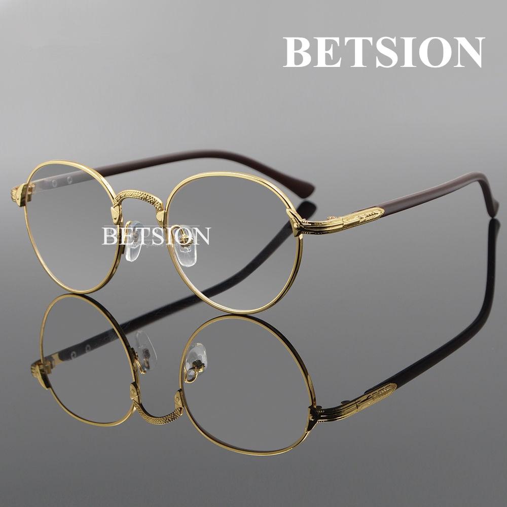 betsion vintage oval gold eyeglass frame man women plain glasses clear full rim spectacles