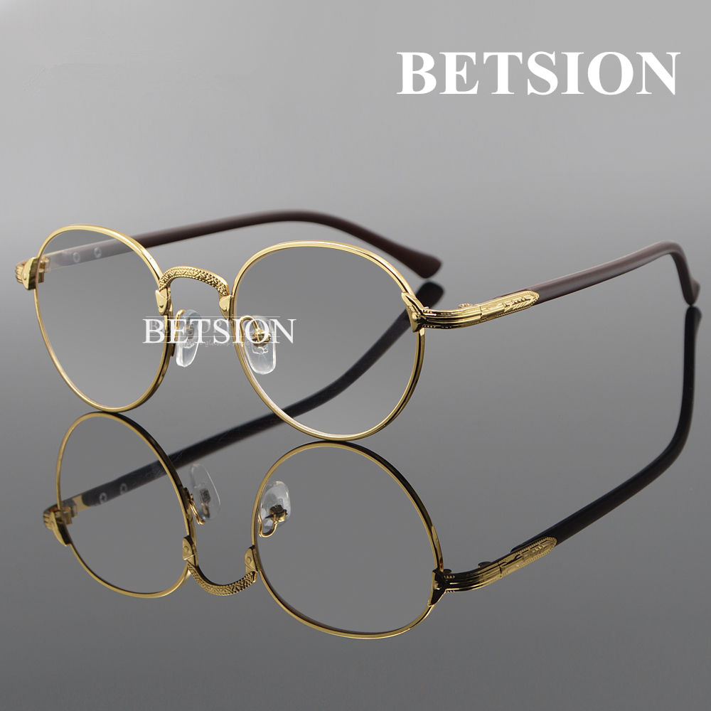 BETSION Vintage Oval Gold Eyeglass Frame Man Women Plain Glasses Clear Full-Rim Spectacles