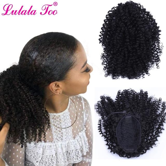 Cordón Puff Afro rizado cola de caballo africano americano corto envolver Clip sintético en extensiones de cabello cola de caballo