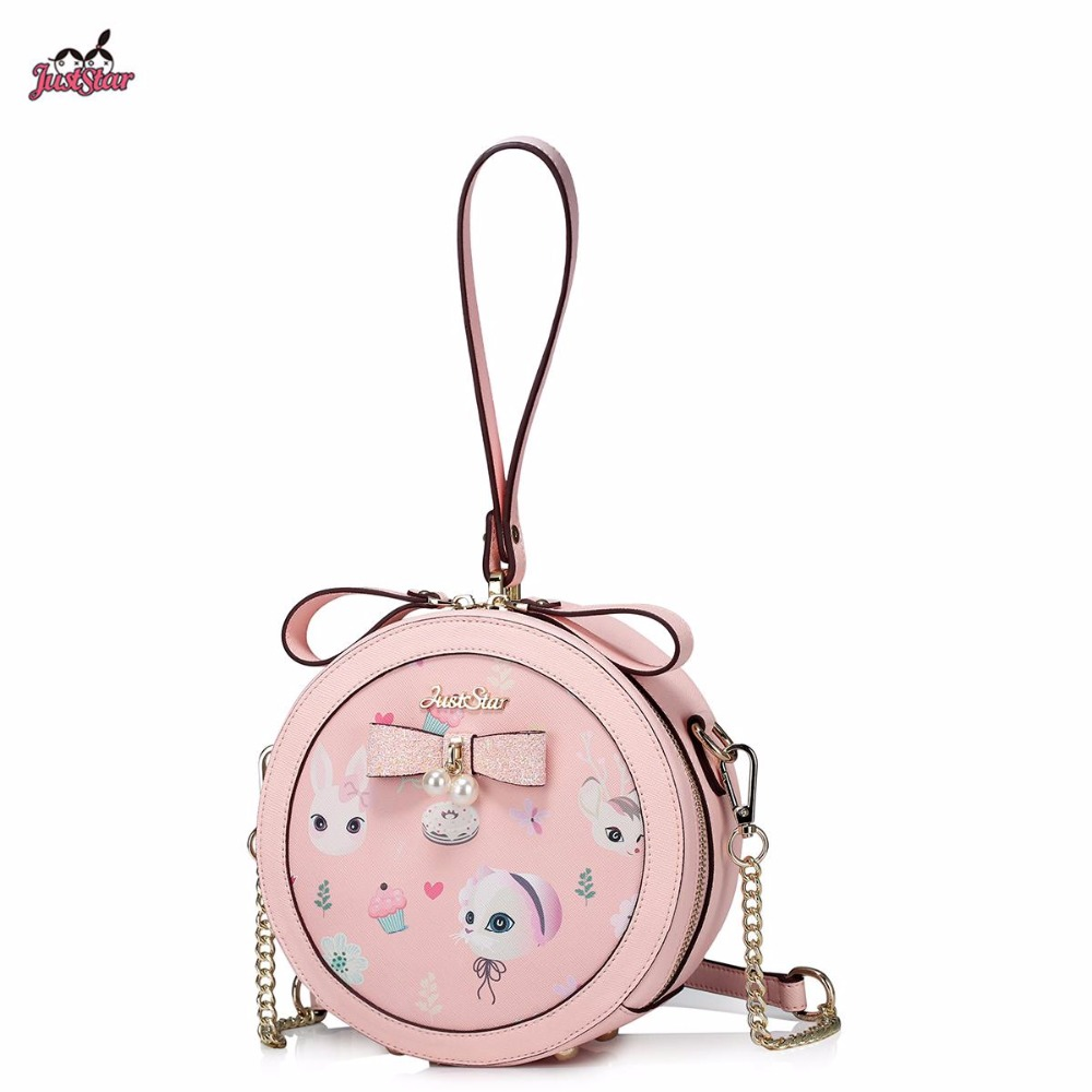 Just Star Brand New Design Animal Printing Pearl Bow PU Women Leather Girls Ladies Handbag Shoulder Small Circular Feminine Bag