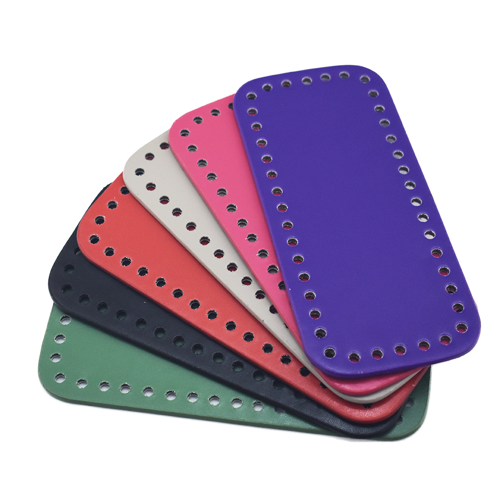 3pcs Bottom for Knitting Bag PU Patent Leather Accessories Rectangle with Holes For Women 18x8cm