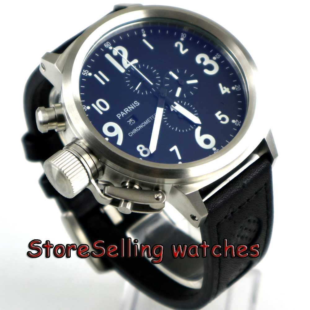 50mm Parnis black dial white marks Chronograph Lefty quartz mens Watch