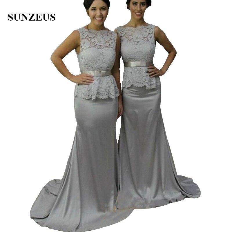 Vintage Lace Top Long Grey Bridesmaid Dresses Custom-made Mermaid ...