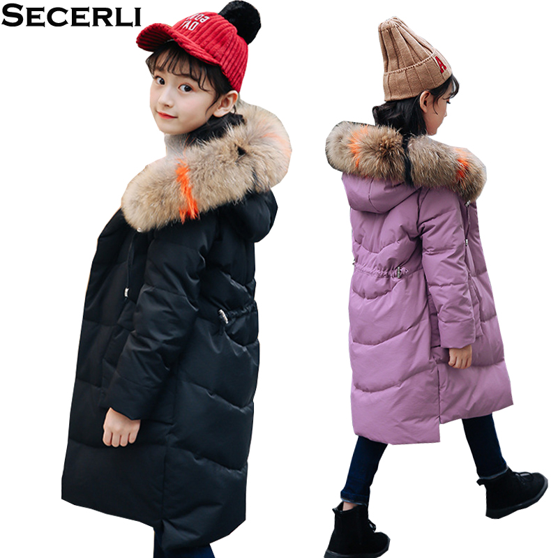 New Winter Girls Down Jacket Coat 4 6 8 10 12Y Fur Hooded Kids Girls Winter Parkas Warm Outerwear Teenage Kids Down Coats kids winter jacket 2018 new brand winter jacket girls coat with real fur hooded girls warm down jacket outerwear parkas 5 14t