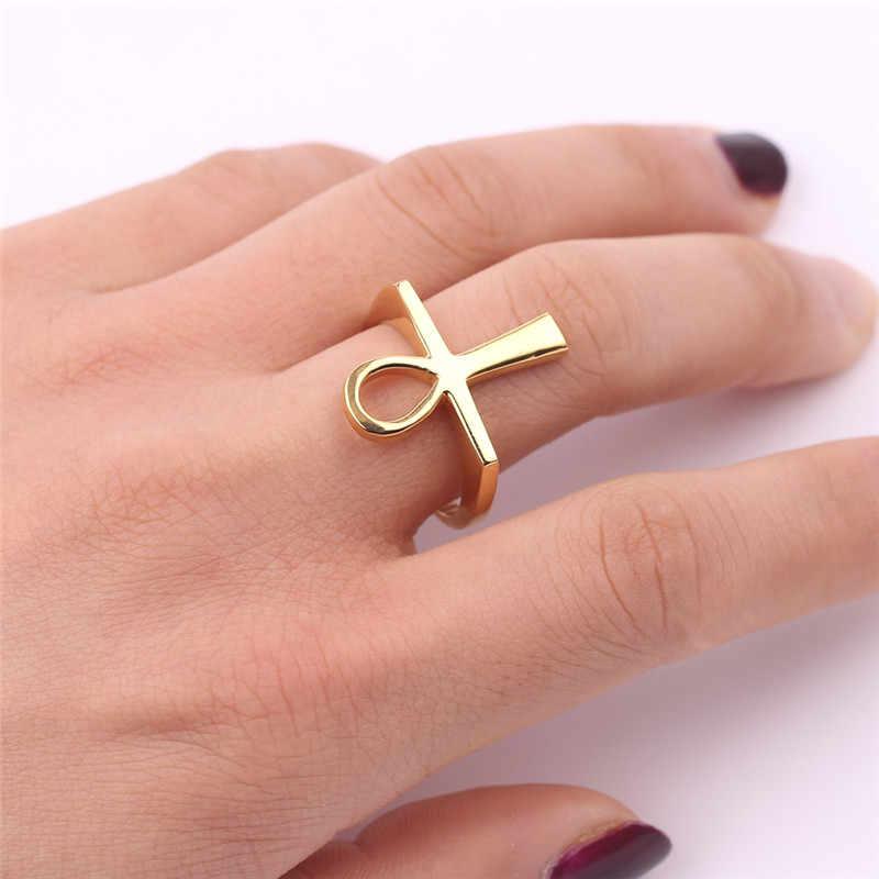 Ankh Cincin Mesir Cross Kunci Nil Hadiah untuk Pria untuk Wanita Afrika Mesir Perhiasan Emas Warna