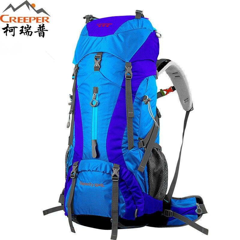 Creeper  Free Shipping 60+5L Professional Waterproof Rucksack Internal Frame Climbing Camping Hiking Backpack Mountaineering Bag