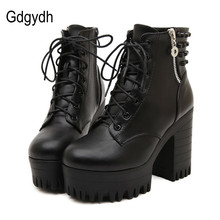Gdgydh New brand 2017 spring autumn women boots platform high-heeled thick heel lacing casual shoes with zipper good quality