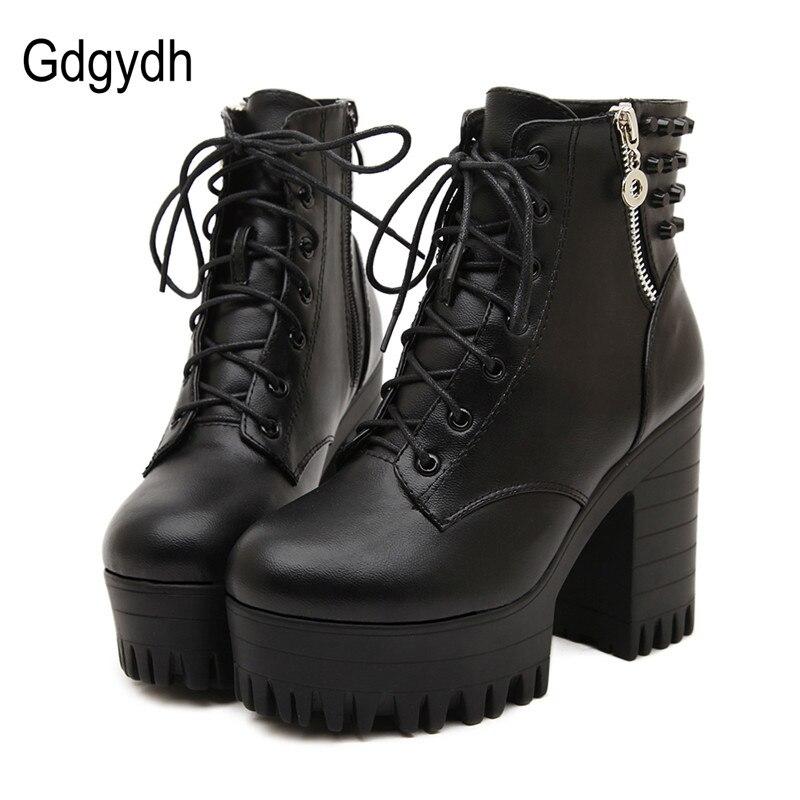 Gdgydh Nieuwe merk 2018 lente herfst vrouwen laarzen platform hoge hakken dikke hak veter casual schoenen met rits enkel laarzen-in Enkellaars van Schoenen op  Groep 1