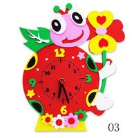2018 Early Education Handmade Cartoon Animal Home Decoration Wall Clock Watch Clocks for Kids Sticky DIY Manual Clock Toy Gift