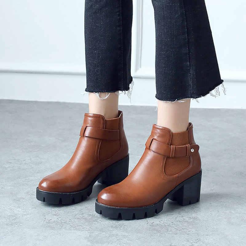 Platform Chelsea Çizmeler Retro Kadın yarım çizmeler Blok Yüksek Topuk Patik Rahat Bayanlar Kışlık Botlar 2019 Kahverengi siyah ayakkabı