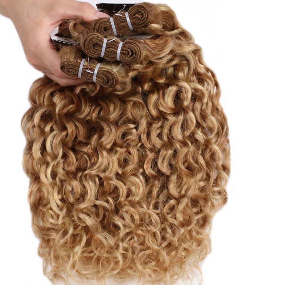 Ombre Brazil rambut Air Wave 3 Bundle Menyoroti Bundle Blonde P27 / - Rambut manusia (untuk hitam)