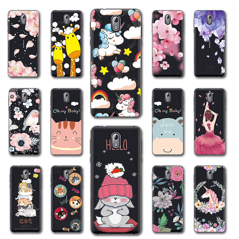 Cute <font><b>Dog</b></font> <font><b>Case</b></font> Fundas For <font><b>Nokia</b></font> <font><b>3</b></font>.1 Flowers 3D Relief Lace Ballet Back Cover Capa For Nokia3.1 <font><b>3</b></font> 2018 Coque Shell For Nokia3 2018 image