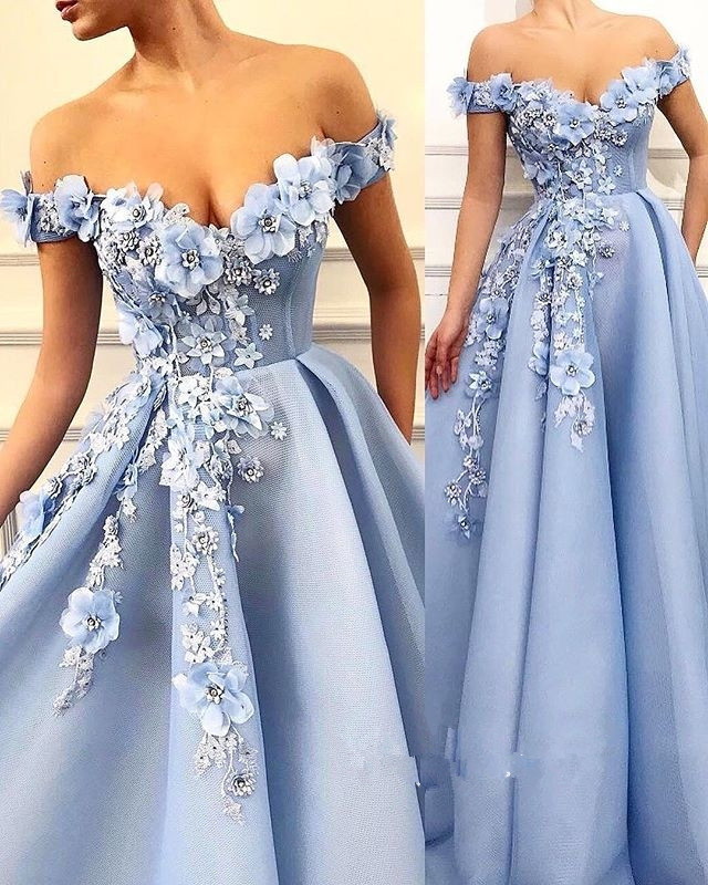 Sky Blue Princess Evening Formal Dresses 2019 Off Shoulder 3D Floral Pearls Puffy Skirt Arabic Dubai Occasion Prom Gowns
